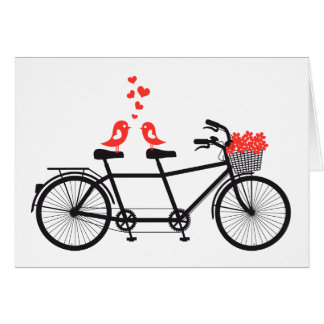 tandem bicycle with cute love birds greeting card
