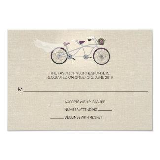 Tandem Plum Bicycle Wedding Faux Linen RSVP 9 Cm X 13 Cm Invitation Card