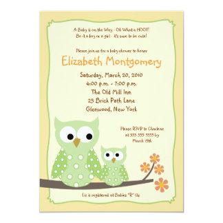 {TBA}HOOT OWLS Green Neutral Baby Shower 5x7 13 Cm X 18 Cm Invitation Card