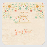 Tea and Flowers Square Sticker