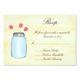 Tea Stained Mason Jar Pink Tulips RSVP Card 9 Cm X 13 Cm Invitation Card