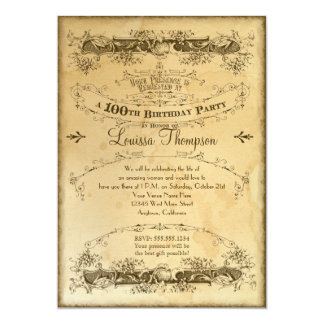 Tea Stained Vintage 100th Birthday Celebration 13 Cm X 18 Cm Invitation Card