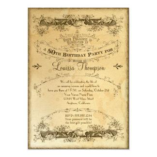 Tea Stained Vintage 80th Birthday Celebration 13 Cm X 18 Cm Invitation Card