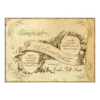 Tea Stained Vintage Wedding 1 - Bridal Shower 13 Cm X 18 Cm Invitation Card