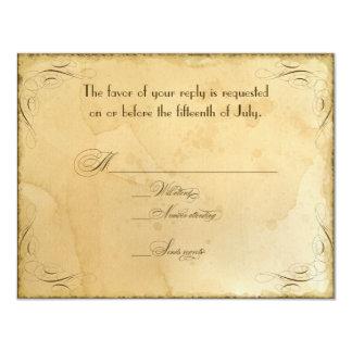 Tea Stained Vintage Wedding 1 - RSVP Response Card 11 Cm X 14 Cm Invitation Card