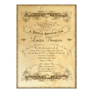 Tea Stained Vintage Wedding 2 - Bridal Shower 13 Cm X 18 Cm Invitation Card