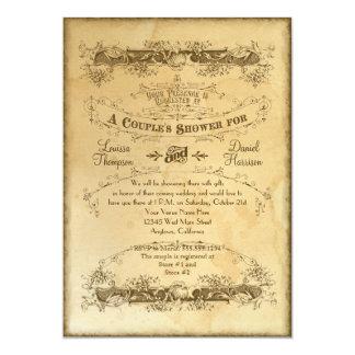 Tea Stained Vintage Wedding 2 - Couples Shower 13 Cm X 18 Cm Invitation Card