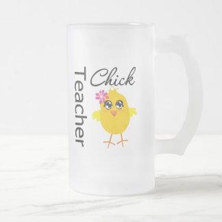 Teacher Chick Frosted Glass Mug