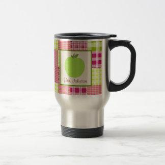 Teacher Mug Green Apple Madras Inspired Plaid