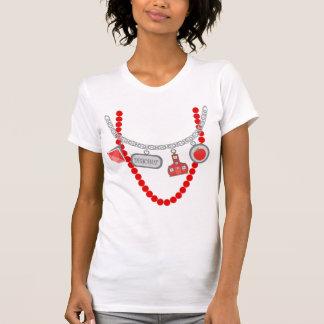 Teacher Trompe L'Oeil T Shirt - Red Beads & Charms