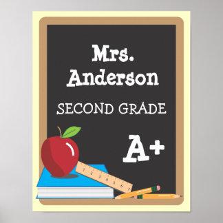 Teacher's Name Blackboard Door Poster