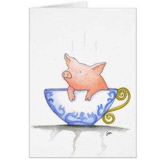 Teacup Pig Print Greeting Card