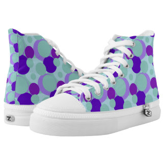 Teal and Purple Bubble Pop Hi Top Printed Shoes