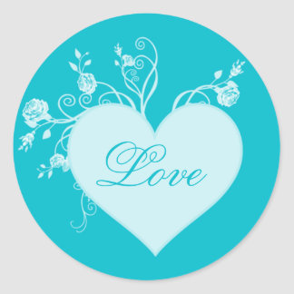 Teal Aqua Heart and Roses Love Stickers