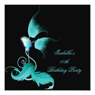 Teal Blue Floral Butterfly Black Birthday Party 13 Cm X 13 Cm Square Invitation Card
