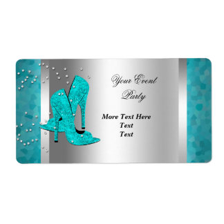 Teal Blue High Heel Shoes Silver Event Shipping Label