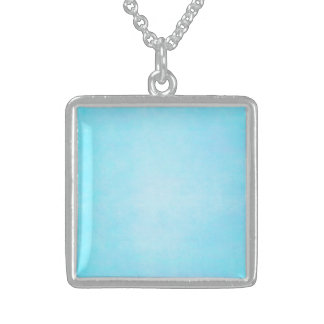 Teal Blue Light Watercolor Template Blank Square Pendant Necklace