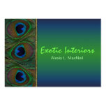 Teal, Brown, Gold Peacock Feathers Business Card