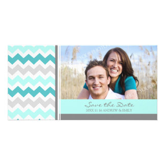 Teal Chevrons Save the Date Wedding Photo Cards