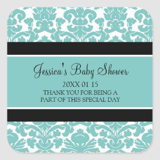 Teal Damask Baby Shower Favor Stickers