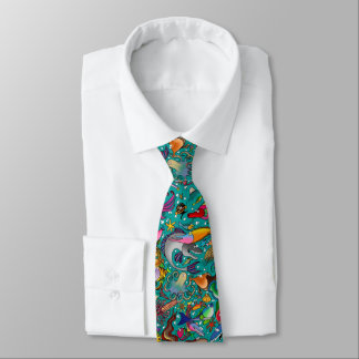 Teal Funny Fish Tie