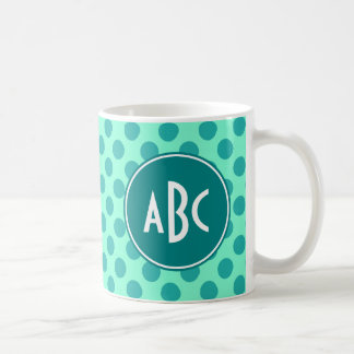 Teal Monogram Green Polka Dot Basic White Mug