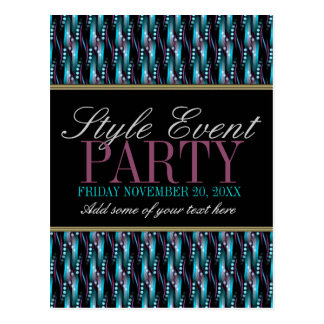 Teal Pink Pattern Office Party Invitation Cards Postcard