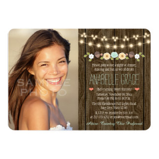 Teal String of Lights Rustic Sweet Sixteen 13 Cm X 18 Cm Invitation Card