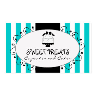 Teal Stripes Cupcake Cake Bakery Pack Of Standard Business Cards