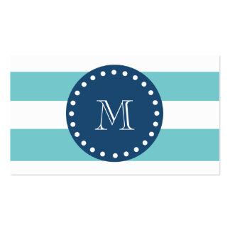 Teal White Stripes Pattern, Navy Blue Monogram Pack Of Standard Business Cards