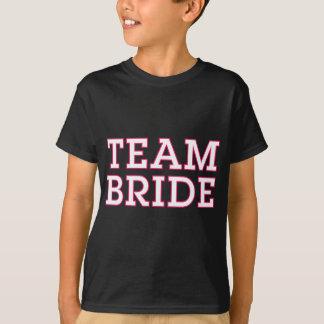 Team Bride Pink Outline Black T Shirt