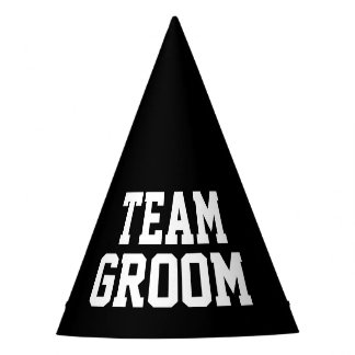 TEAM GROOM black wedding party hats for adults