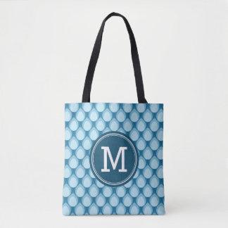 Teardrop Pattern Personalize Name Blue Monogram Tote Bag