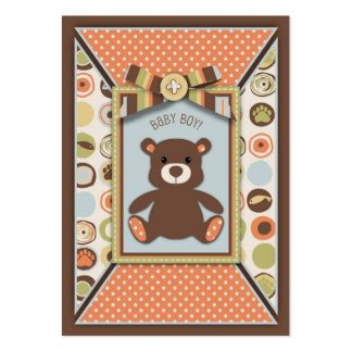 Teddy Bear 3D-look Bow & Button Baby Shower Pack Of Chubby Business Cards