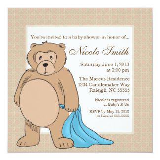 Teddy Bear and His Blanket 13 Cm X 13 Cm Square Invitation Card