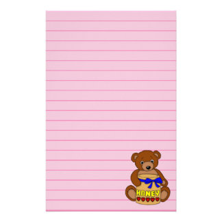 Teddy Bear and Honey Jar Art Graphic Personalised Stationery