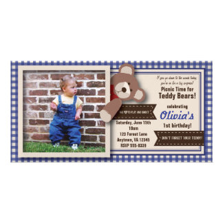 Teddy Bear Picnic Birthday -Blue Gingham Photo Card