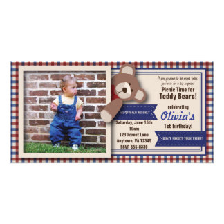 Teddy Bear Picnic Birthday -Red & Blue Gingham Photo Cards