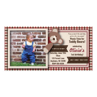 Teddy Bear Picnic Birthday -Red & Brown Gingham Photo Card