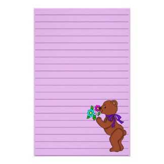 Teddy Bear with Flowers Graphic Lined Personalized Stationery