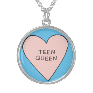 Teen Queen Tumblr Doodle Silver Round Necklace