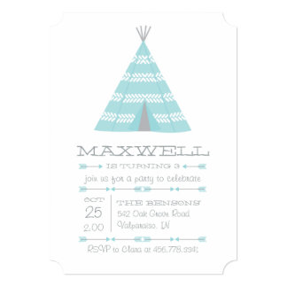 TeePee Tent Birthday Party Invite for Boy