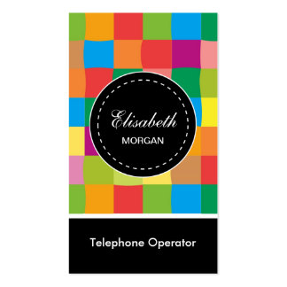 Telephone Operator- Colorful Sqaure Pattern Pack Of Standard Business Cards