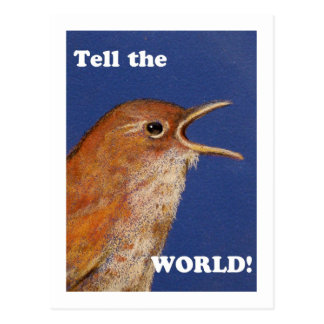 TELL THE WORLD SINGING WREN POSTCARD