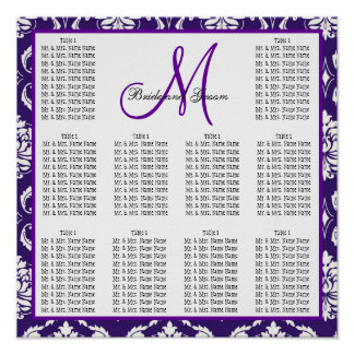 Template Wedding Seating Chart Purple Damask Poster
