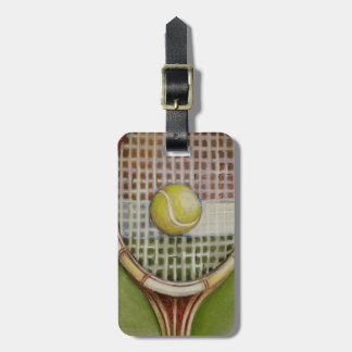 Tennis Racket with Ball Laying on Court Bag Tag