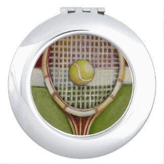 Tennis Racket with Ball Laying on Court Makeup Mirrors