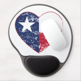 Texas Flag Heart Distressed Gel Mouse Pad