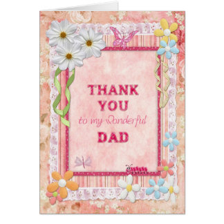 Thank you Dad, flowers and butterflies craft card