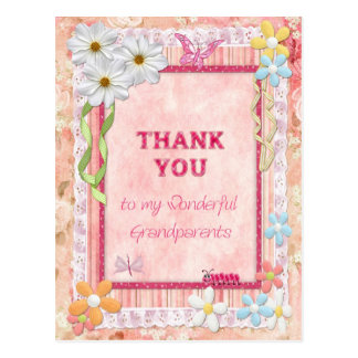 Thank you grandparents, flowers craft card postcard